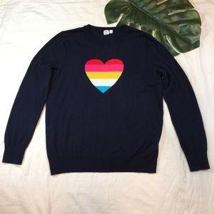 GAP   navy crewneck heart sweater